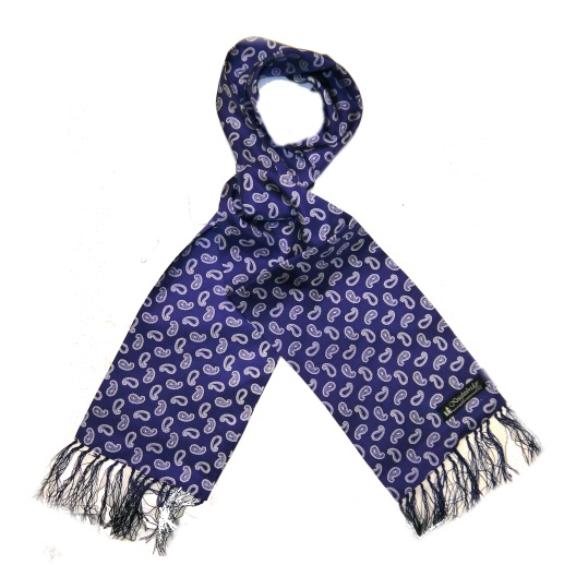 French navy small paisley silk aviator scarf -0