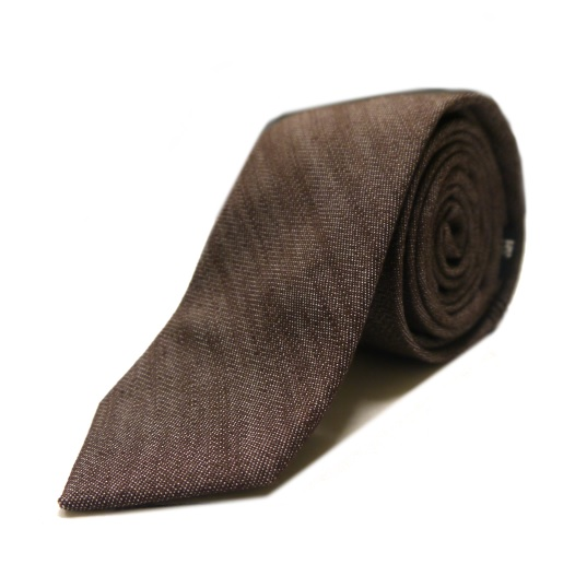 Dark brown denim tie -0