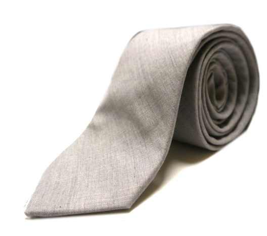 Dove grey denim tie -0