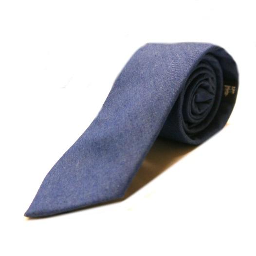 Indigo blue denim tie -0