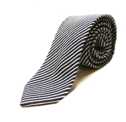 Navy/white stripes denim tie -0