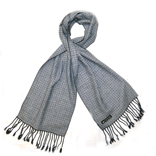 Blue/black/White Houndstooth Tweed Scarf-0