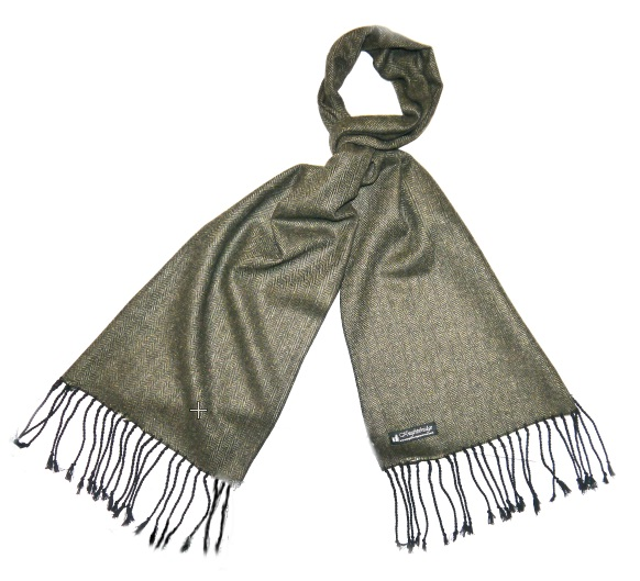 Dark olive green herringbone tweed scarf-0