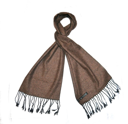 Brown herringbone tweed scarf-0