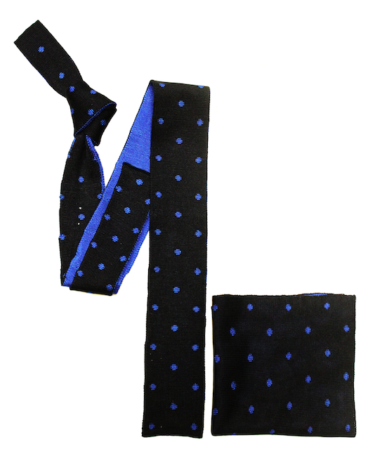 Navy/Blue Polka Dot Knitted Tie and Pocket Square-0