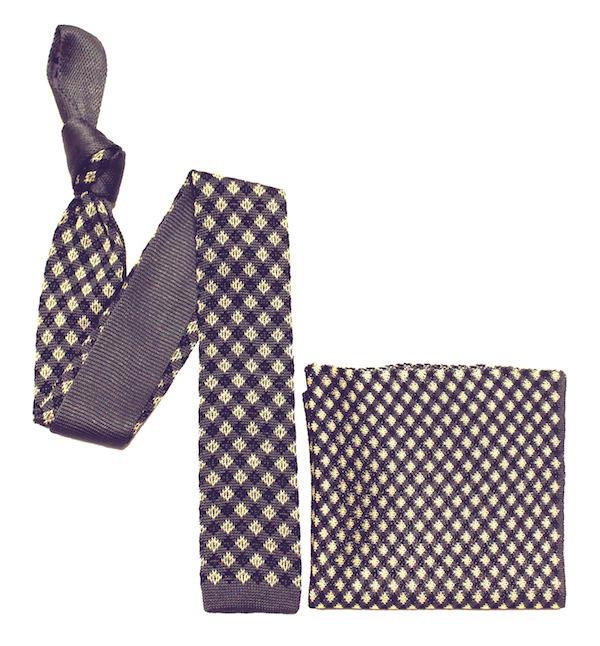 Grey Check Knitted Tie and Pocket Square