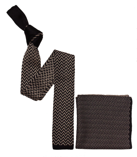 Black Zig Zag Tie and Pocket Square