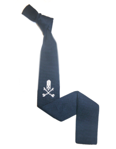 Navy/white Skull and crossbones Knitted tie-0