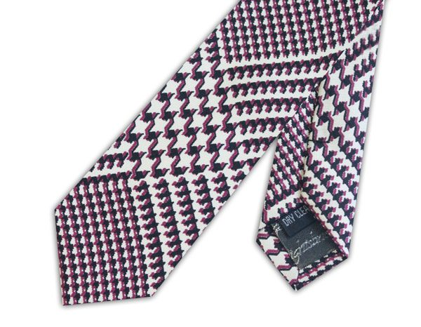 Deep purple/white houndstooth skinny silk tie-0