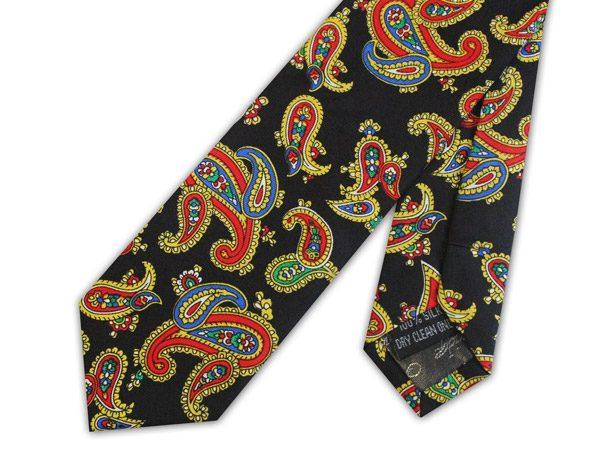 Black/orange paisley silk skinny tie -0