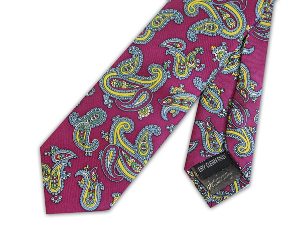 Pink and Yellow Paisley Silk Skinny Tie