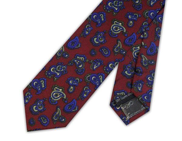 Burgundy/blue paisley silk skinny tie -0