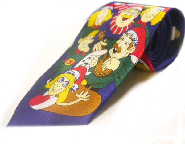 Santa and elves christmas tie-0