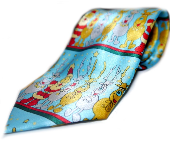 Merry Santa and reindeer novelty tie-0