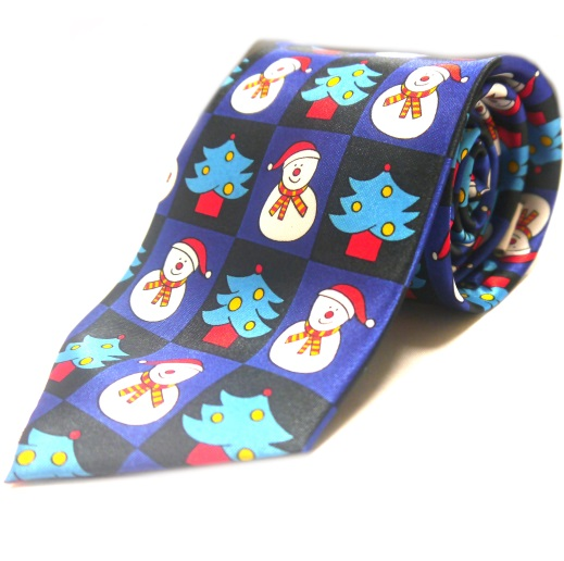 Festive snowman and christmas tree novelty tie-0