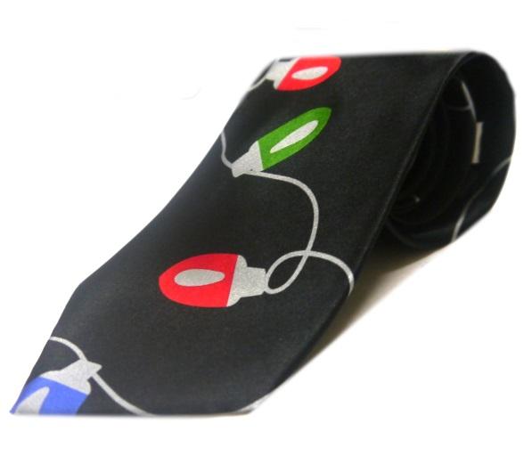 Black decorative lights festive tie-0