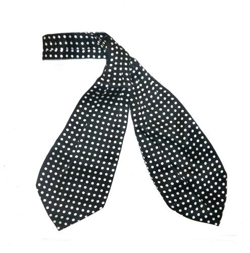 black/white spotty silk cravat -0