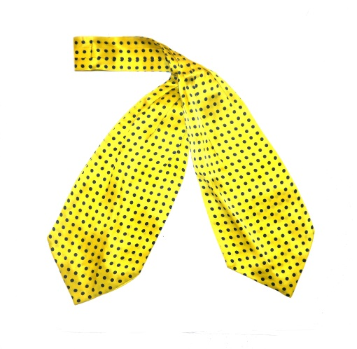 Yellow/navy polka dot silk cravat -0