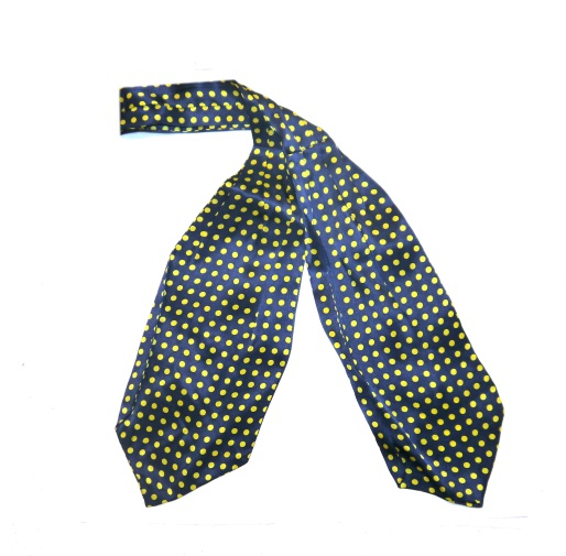 Navy/yellow polka dots silk cravat -0