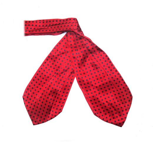 red/navy polka dots silk cravat-0