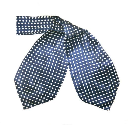 Navy/white spotty silk cravat-0