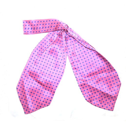 Pink/blue spotty silk cravat -0