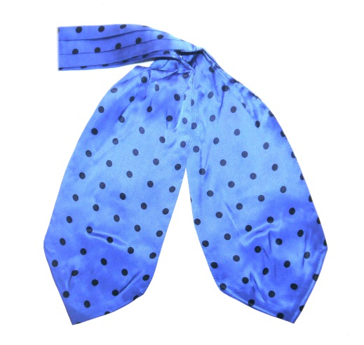 Blue/navy polka dots silk cravat -0