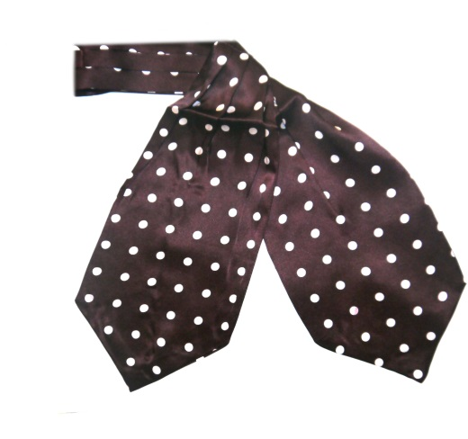 Burgundy with White Polka Dots Silk Cravat