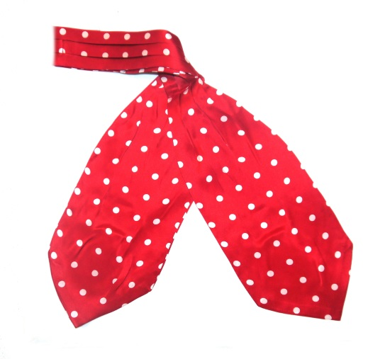 Red/white polka dots silk cravat -0