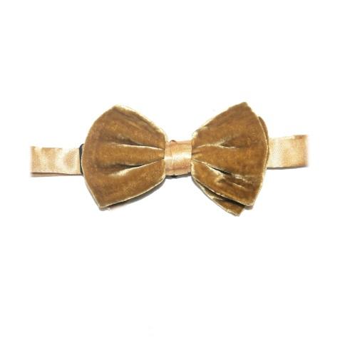 Gold silk velvet bow tie -0