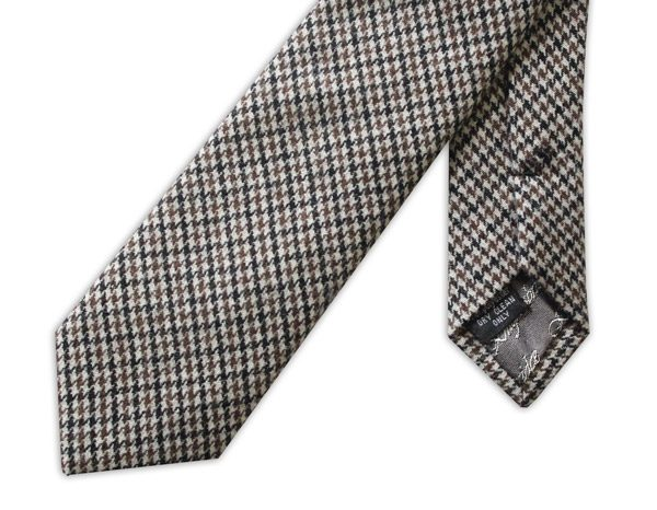 Brown/Beige/Black Houndstooth Tweed Tie-0