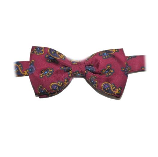 Burgundy small Paisley Silk Bow tie -0