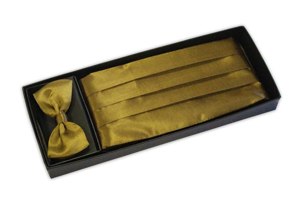 Vintage Gold cummerbund and bow tie set-0