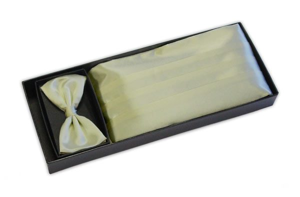 pale lemon yellow cummerbund and bow tie set-0
