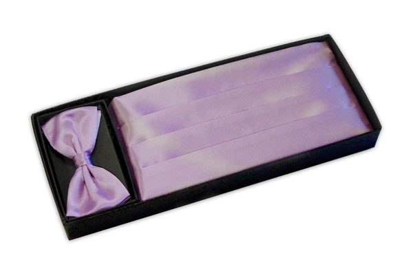 Lilac cummerbund and bow tie set -0