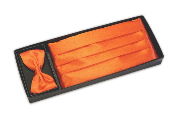 Bright orange cummerbund and bow tie set