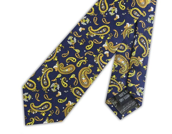 Royal blue/yellow busy paisley silk skinny tie -0