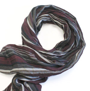 Plum/black/grey stripes cotton scarf -0