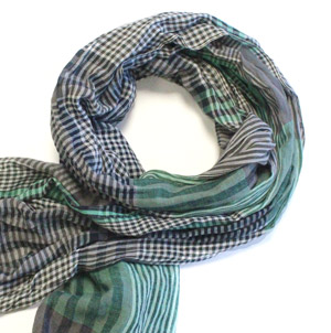 Green/Grey gingham cotton scarf -0