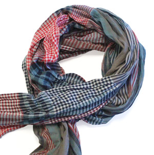 Red/grey gingham cotton scarf -0