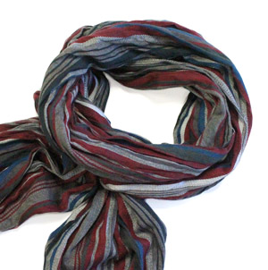 Wine red/teal/grey stripes cotton scarf -0