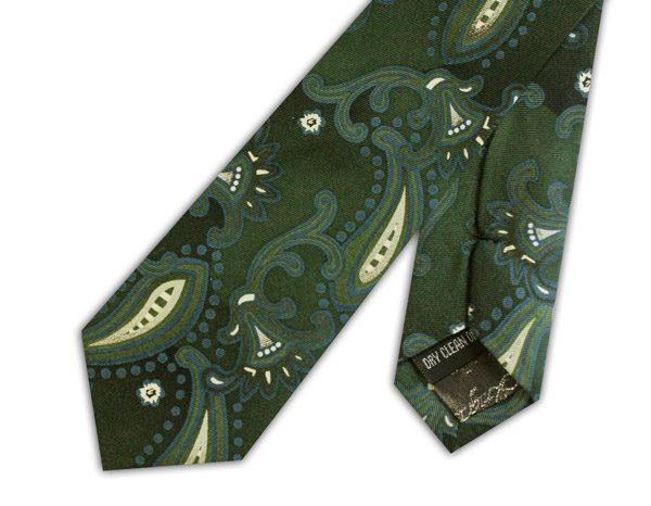 Khaki paisley silk skinny tie -0