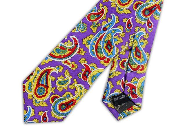 Purple/red/yellow paisley silk skinny tie -0