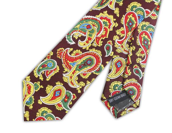 Maroon/red/yellow paisley silk skinny tie