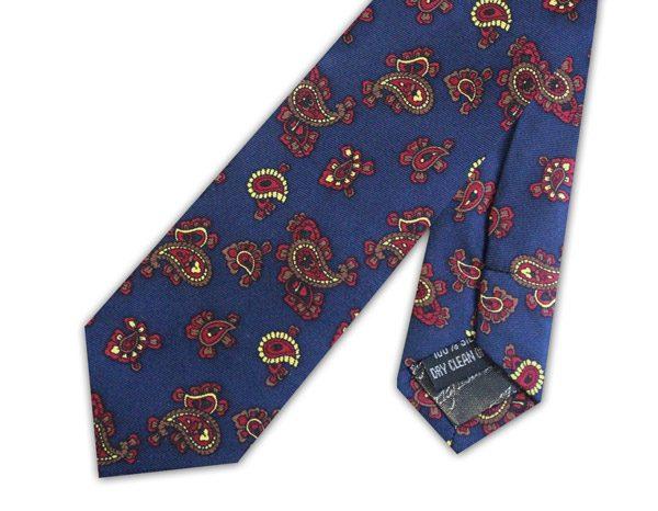 Navy small paisley silk skinny tie -0