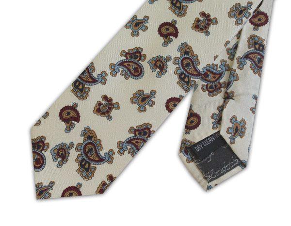 Cream/burgundy small paisley skinny silk tie -0