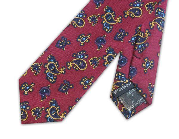 Maroon paisley silk skinny tie -0
