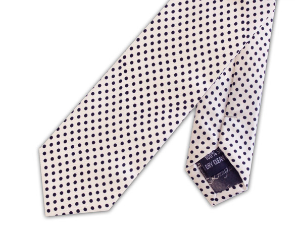 White/black pin dots silk skinny tie
