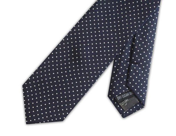 Navy/white pin dots silk skinny tie -0