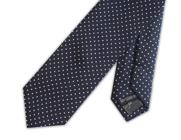 Navy/white pin dots silk skinny tie
